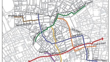 A map of some proposed new cycle routes through Islington
