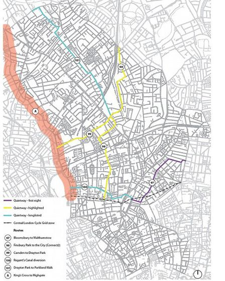 Proposed cycling quietways though Islington