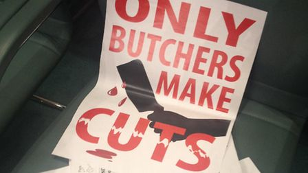 Only Butchers Make Cuts protest poster shown as Brent's Labour Council push through £54m of cuts