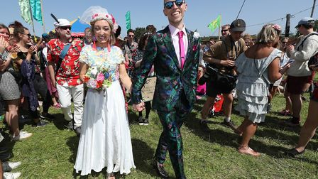 A wedding celebration for Jack Watney, 32, and Sarah Adey, 31, at The Croissant Neuf bandstand in th