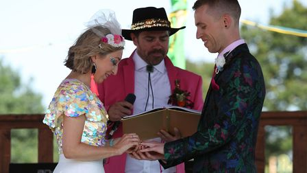 Jack Watney, from Lowestoft, married his partner Sarah in front of hundreds of people at Glastonbury
