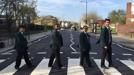Pupils trying out the new crossing on Harlesden Road