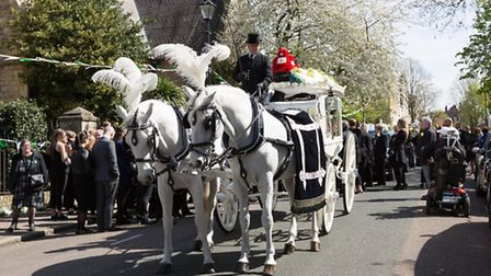 Alan's coffin was taken by horse drawn herse to the St Andrew's Church in Thornhill Square, Barnsbur