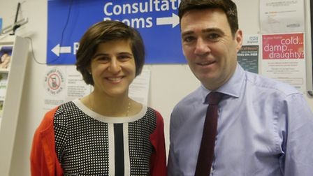 Shadow Health secretary Andy Burnham visited the centre with Labour candidate Sarah Sackman