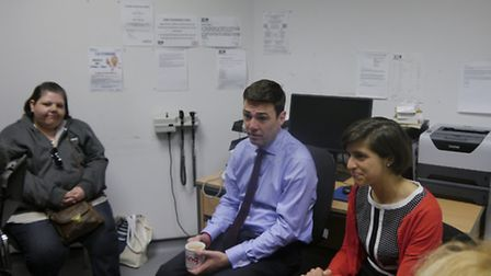 Mr Burnham and Ms Sackman met with patients at the centre in Cricklewood Lane