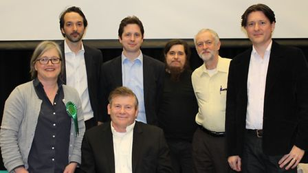 Candidates for Islington North stand behind hustings chair Richard Rieser as the get ready to be gri