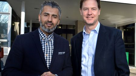 Maajid Nawaz with Liberal Democrat leader and Deputy Prime Minister Nick Clegg. Picture: Polly Hanco