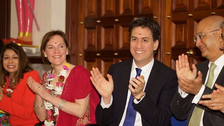 Ed Miliband was joined by wife Justine and Labour Candidates at the temple in Willesden Green.Pictur