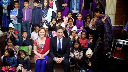 Miliband and wife Justine met pupils at the Shree Swaminarayan Temple. Picture: Adam Tiernan Thomas