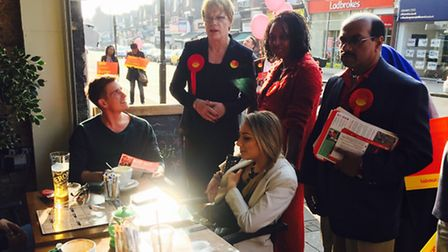 Eddie Izzard and Dawn Butler meet voters as part of Labour's campaign for Brent Central