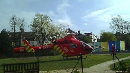 An air ambulance landed in a children's park close to the scene (Pic credit: Twitter@@HarlesdenNW104