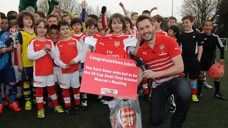 Jojo, 8, was picked to be a mascot at Arsenal's semi final clash with Reading Pic: Arsenal / David P