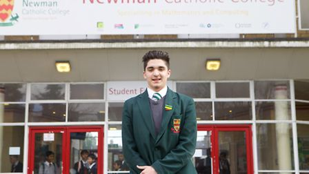 Jordan McCabe outside his current school Newman Catholic College