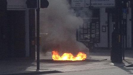 Flames erupted from Finsbury Park Road