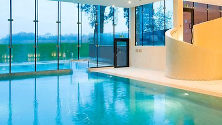 The stunning indoor pool at the spa