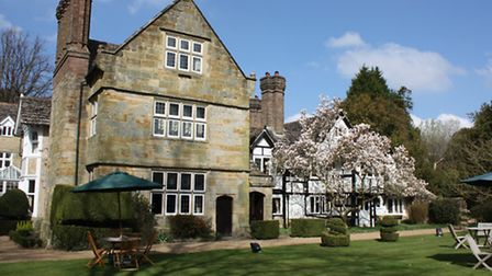 The Elizabethan manor house of the hotel from the picturesque gardens