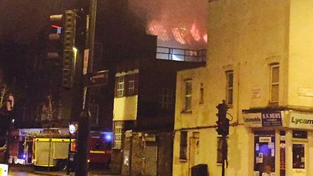The flames at Rollit House lit up the night sky in Holloway. Picture by @serhanbiter