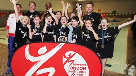 Islington's gold medal winning water polo team at the London Youth Games