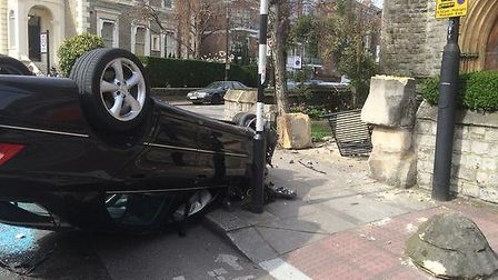 Suspected joyriders crashed a mercedes car into St Mary's church wall in Abbey Road, Kilburn (pictur