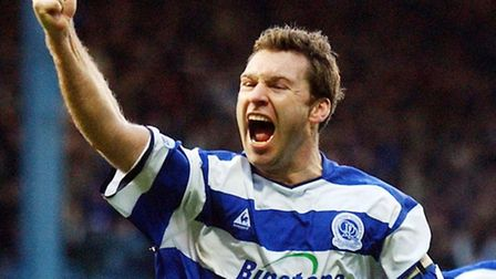 Former QPR striker Kevin Gallen celebrates his goal against Brighton and Hove Albion.