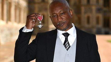 Brinsley Forde was made an MBE by Prince William at Windsor Castle yesterday (Pic credit: Jonathan