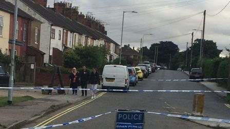 Police have closed several roads in Lowestoft and evacuated at least 60 properties after unidentifie