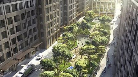 View of garden and high rise buildings at planned Royal Mail Mount Pleasant site