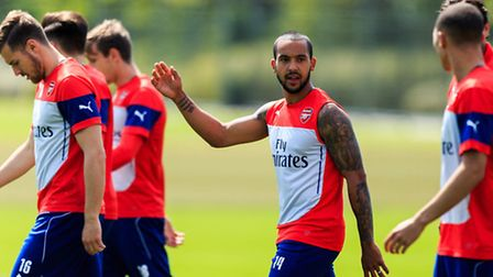 Arsenal's Theo Walcott during a training session ahead of the FA Cup Final at London Colney. Should