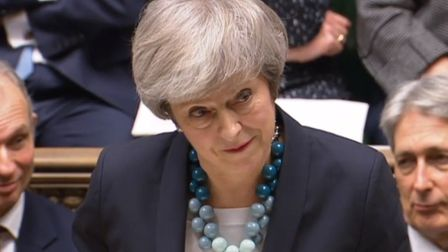 Prime Minister Theresa May making a statement in the House of Commons where she told MPs that tomorr