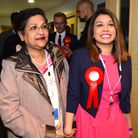 Tulip Siddiq arrives at the election count with her mother. Picture: Polly Hancock.