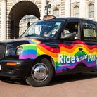 This black cab has been embalzoned with a rainbow as part of the International Day Against Homophobi