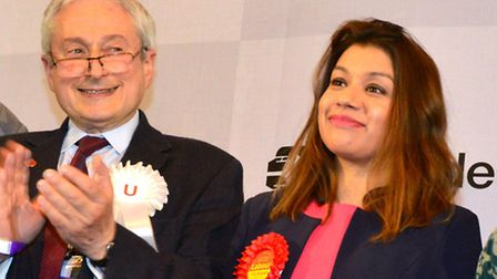 Tulip Siddiq is applauded by fellow candidates after winning the Hampstead and Kilburn seat. Picture