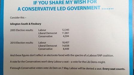 The leaflet that was posted through letterboxes over the weekend