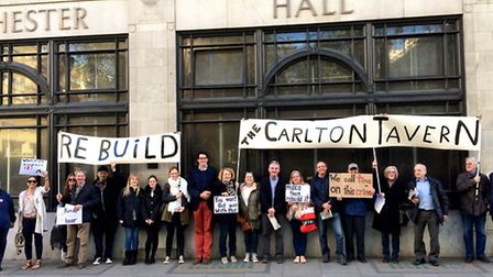 Rebuild The Carlton campaigners outside Porchester Hall for Westminster Council meeting Pic credit: