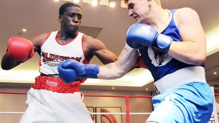 Sherif Musah (Islington BC) in action against Tomas Dubsky