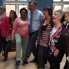 Ed Balls and Tulip Siddiq line dancing with pensioners at Kingsgate Community Centre.