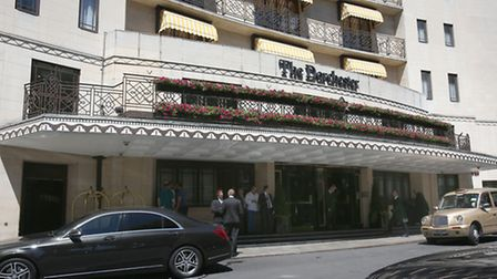 The Dorchester hotel in London, after robbers wielding sledgehammers staged a smash-and-grab at the