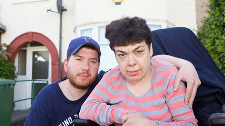 Colette Feighan, 45, with her partner Aaron Wood