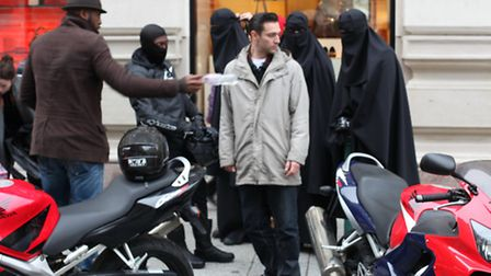 Reg Traviss on set for the recreation of the Burkha heist which took place at Selfridges in 2013