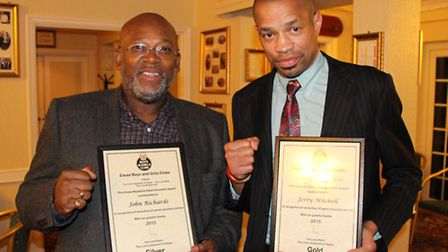 Islington BC coaches JR Richards (left) and Jerry Mitchell with their Keystone awards