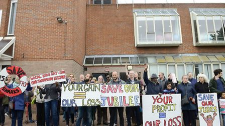 Protestors outside the Jubilee Sports Centre in Queen's Park