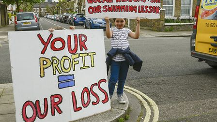 A young protester and user of the Jubilee Sports Centre