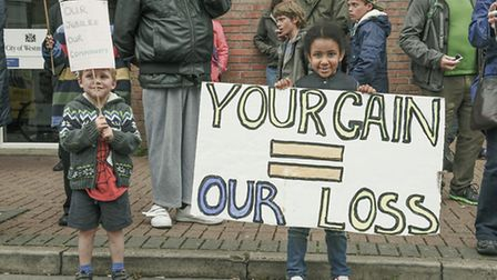 Young protestors outside the sports centre