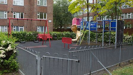 The shooting took place near this children's play area in Heron Close (Pic credit: Jonathan Goldberg