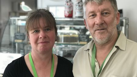 Sue Pearce and David Barber manage the team at Compass cafe in Lowestoft, who are made up of individ