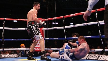 Carl Froch knocking down George Groves to win the IBF and WBA World Super Middleweight Title fight a