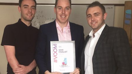 Dan Keeble, Colin Hegarty and Brian Arnold with their Semi Finalist award from Virgin in the Pitch t