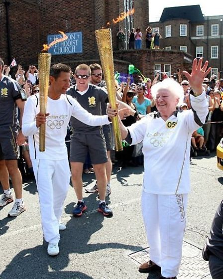 Diana Gould with the Olympic Torch in 2012