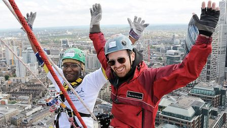 Ameachi Odiatu with instructor Andy Day just before his death-defying descent Pic: Dieter Perry