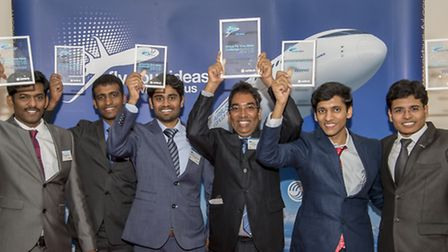 City student Dhamotharan Veersamy ( far left) with the with the rest of Team Multifun